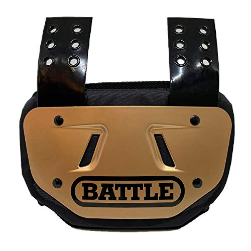 Battle Sports Football Back Plate Tail Pad, Gold, Adult