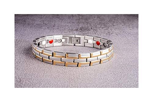 Wtbhd Pulsera Acero Inoxidable de los Hombres de Moda Pulsera magnética Pulsera de Oro imán Pulseras de señoras (Color : Silver Gold Color, Size : 22cm)