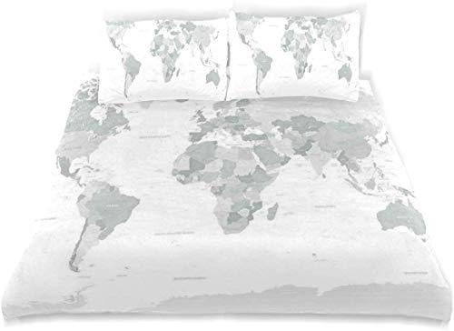 Juego de Funda nórdica Juego de sábanas Decorativas de 3 Piezas con Mapa del Mundo en Color Gris Continente Tierra con 2 Fundas de Almohada