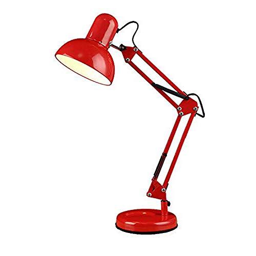 Lámpara de Escritorio LED roja, lámpara de Mesa con Brazo Ajustable E27, lámpara de Noche de Metal con Base de Hierro Forjado, luz de Escritorio Moderna para Leer Estudios