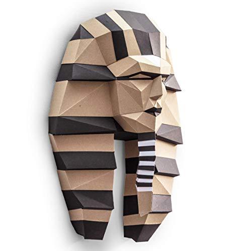 ORIGADREAM, kit DIY PAPERCRAFT de Faraón pre-cortado NUEVO PUZZLE 3D MODERNO Egipto montar por uno mismo escultura low poly Papel Kraft Calidad Cartón Grueso y ecológico 100% reciclado