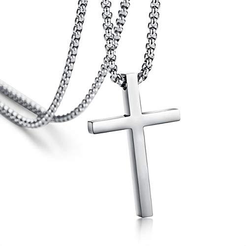 BJGCWY Collar con Colgante de Cruz de Acero Inoxidable para Hombres y Mujeres, joyería para Hombres y Mujeres, Collares de oración, gargantillas, Color Plateado, 60 cm, Grande