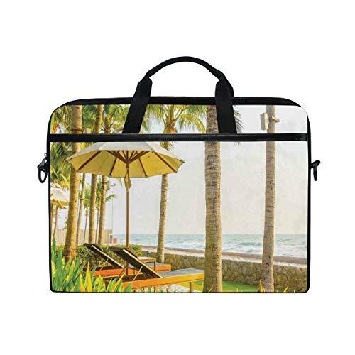 NR 15-15.4 Zoll Laptop Tasche Notebook Handtasche Umhängetasche Aktentasche,Palmen-Regenschirm und Stühle um Swimmingpool-Hotel-Erholungsort