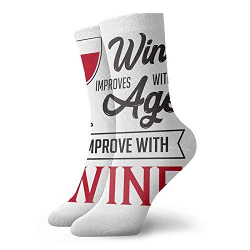 Calcetines divertidos para hombres y mujeres de vino mejora con la edad calcetines de tobillo casuales