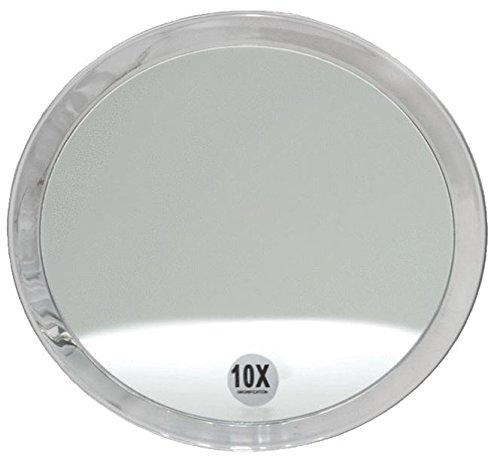 Runder 10-fach Kosmetik-Spiegel Ø 23cm, Kosmetex mit verschiedenen Vergrößerung und Saugnäpfen, 10-fach