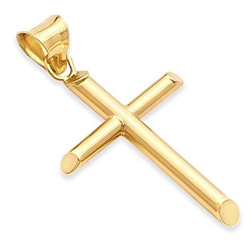 14k REAL Yellow Gold Religious Classic Cross Charm Pendant (25 x 15 mm)