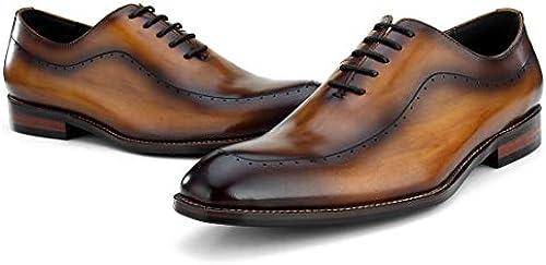 DANDANJIE Herren-Business-Schuhe Im Britischen Stil Pointierte Lace-Up Offiziell Geschnitzte Schuhe