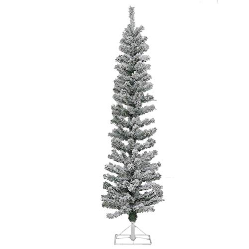Artificial Christmas Pine Tree Pencil Flocked Snow 4ft Christmas Tree with Metal Folding Stand Indoor Outdoor-Green 4ft