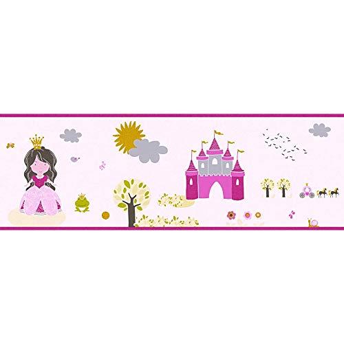 WALL-ART Rosa Kinderzimmertapete Prinzessin Bordüre 3D Effekt Dekoleiste hübsche Babyzimmer Wandfarbe Pink