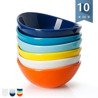 Sweese 1107 Porcelain Bowls - 10 Ounce for Ice Cream Dessert, Small Side Dishes - Set of 6, Hot Assorted Colors