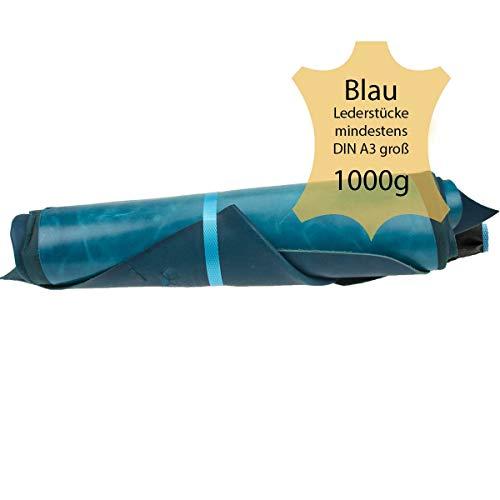 Langlauf Schuhbedarf ® Lederreste Lederstücke extragroß A3-1kg Varianten von blauen Farbtönen - alle Stücke Mind. DIN A3 groß
