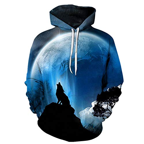 The Wolf Printed Hoodies Hombres 3D Hoodies Sudaderas Boy Chaquetas Pullover Moda Animal Streetwear out...