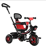 XYSQ Kids Trike Bike with Adjustable Push Handle Swivel Seat Double Brake Rear Wheels Foldable Footrest Toddler Walker for 8 Months to 6 Years (Color : A)