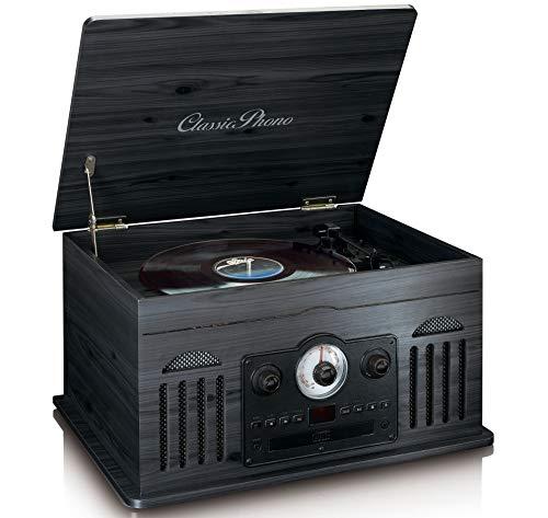 Classic Phono TCD-2600 - Retro Stereo-Anlage mit Plattenspieler - Kassette - CD Player - Bluetooth und USB - AM/FM Radio - 33-, 45-, und 78 U/min - MP3 - schwarz