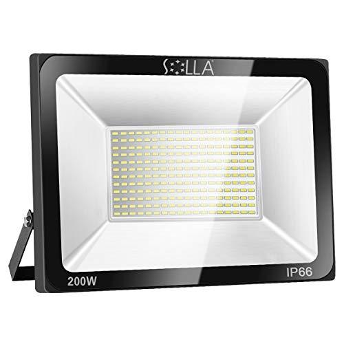 SOLLA Projecteur LED 200W, IP66 Imperméable, 16000LM, Eclairage Extérieur LED, Equivalent à Ampoule Halogène 1060W, 6000K Lumière Blanche du Jour, Eclairage de Sécurité