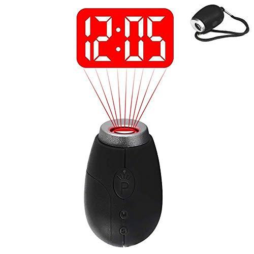 QYLT Mini Despertador Proyector, Reloj Digital de Proyección portátil, Linterna LED con cordón o Llavero, Fecha y Hora de visualización, Temporizador de Cuenta Regresiva (Negro)