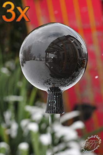 3 Stück Gartenkugel ca. 18 cm gross Form Kugel, klassische Kugelform handgefertigt schwarz Rosenkugel gartenkugeln, Sonnenfänger-Kugel, Sonnenfänger-Scheibe, Sonnenfängerscheiben, Gartendeko FROSTS