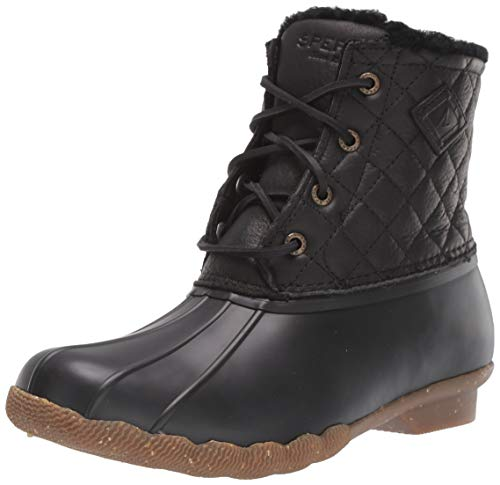Sperry Womens Saltwater Winter Lux Boots, Black Quilt, 9