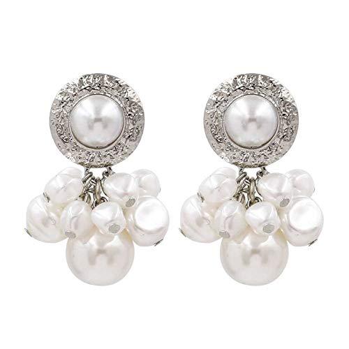 Pendientes de aleación Pendiente de perlas grandes para mujer Pendientes colgantes con cuentas irregulares de color dorado