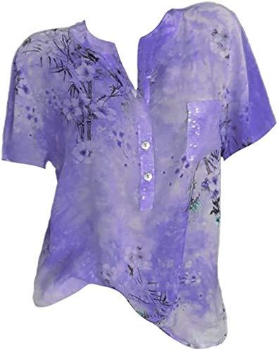 pingrog Shirt Damen Shirt Lässig Kurz/Langarm Elegant Locker Blumendruck Tops...