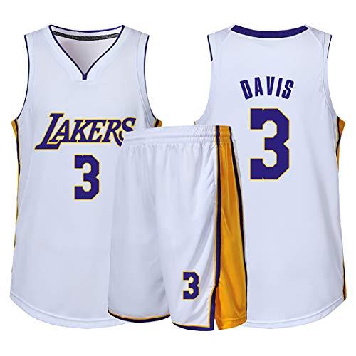 Ropa de Baloncesto para niños, Camiseta de fanático de los Lakers No. 3 Anthony Davis, Traje de Ropa Deportiva para Juegos de Baloncesto para Hombres y Mujeres,Camiseta Corta de Manga Corta-White-M