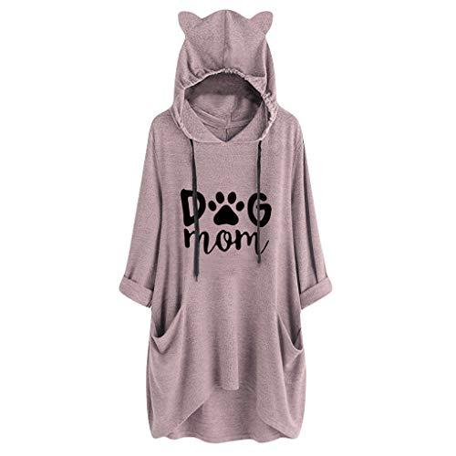 Zottom Frauen Hoodie, Casual Frauen Hoodie, Langarm Katzenohren Print Pocket Unregelmäßige Shirt Top Bluse