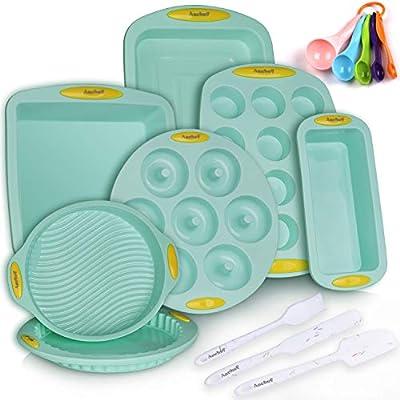 15in1 Solicone Nonstick Baking Pan Bakeware Mold Tools Set, BPA Free Food Grade for Muffin Donuts Pizza Tiramisu Cake Pan Sheet Set