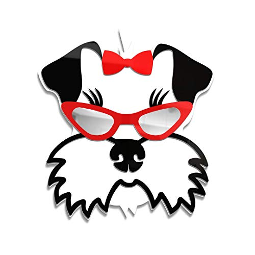 4ArtWorks - Cool Dog 3D Schnauzer with Sunglasses Wall Art | Silver Mirror Finish Glasses - for Schnauzer, Dog & Street Pop Art Lovers - Made in The USA - Modern Home Dec -16' W x 16' T