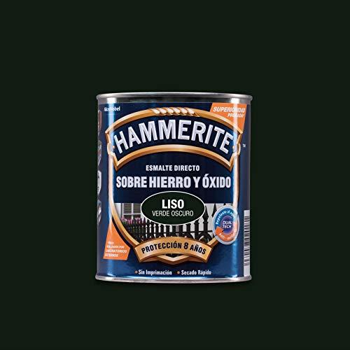 Hammerite 61755020198 M127435-Hammerite Liso 750 Ml Verde-Oscuro, Multicolor