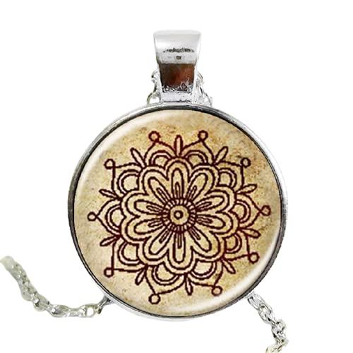 Collar de cristal de la flor del mandala de la vendimia de los encantos del collar de los hombres de las mujeres de la joyería de la henna del tatuaje