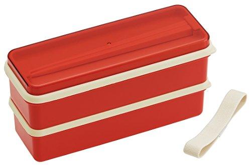 スケーター 弁当箱 2段 シリコン製内蓋付 630ml スリム ランチボックス レトロフレンチ オレンジレッド 日本製 SSLW6