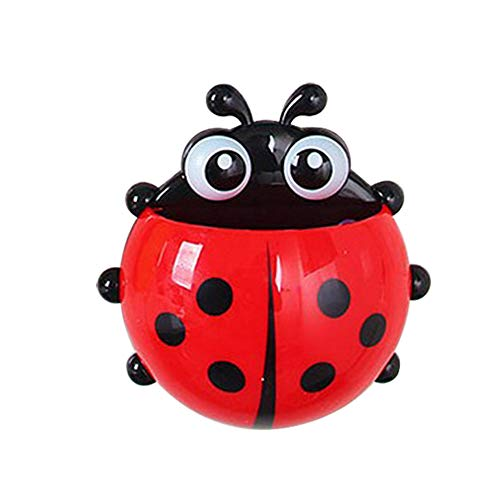 Homiest Ladybug Shape Wall Suction Cup Mount Toothbrush Toothpaste Holder Red
