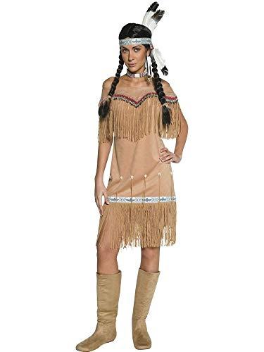shoperama Indianerin Damen Kleid Indian Lady Schulterfrei Squaw Fransen Perlen Federn Muscheln Karneval Fasching Verkleidung, Größe:L