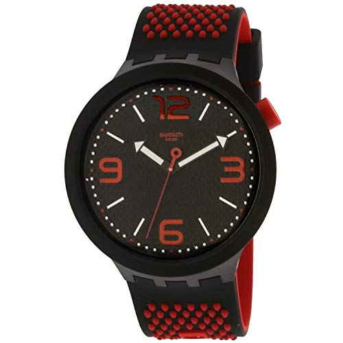 Swatch Men's Bbblood SO27B102 - Reloj de pulsera de silicona de cuarzo, color negro