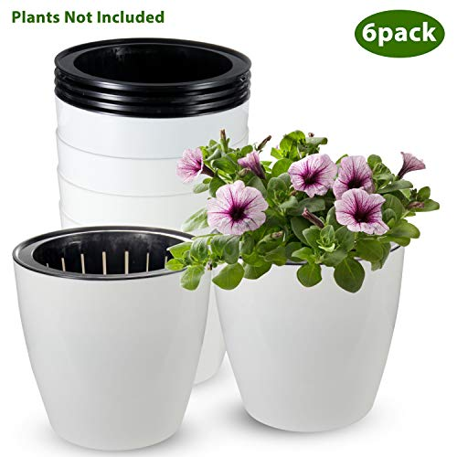 Self Watering Planter, ZOUTOG 6 inch African Violet Pots, White Flower Plant Pot for Various Plants/Flowers/Herbs, Pack of 6