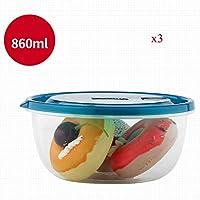 保存容器 キッチン食品封印された新鮮なストレージに使用ふた付き食品容器3個プラスチック製の食品保存容器 (Color : A)