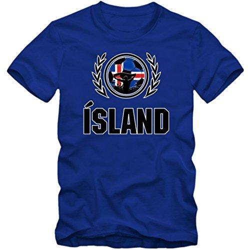 Island WM 2018#2 T-Shirt Fußball Herren Fanshirt Trikot Nationalmannschaft S-5XL, Farbe:Blau (Royalblue L190);Größe:XL