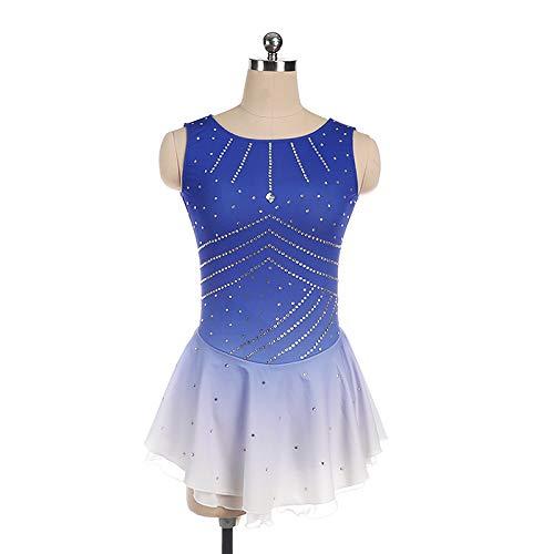 Eiskunstlauf Kleid Eiskunstlauf Performance Kleidung Handgefertigte Benutzerdefinierte Skating Kleidung Kinder Erwachsene Wettbewerb Prüfung Rock Heißen Strass Gradient Ärmellosen Rock,Blue-XS