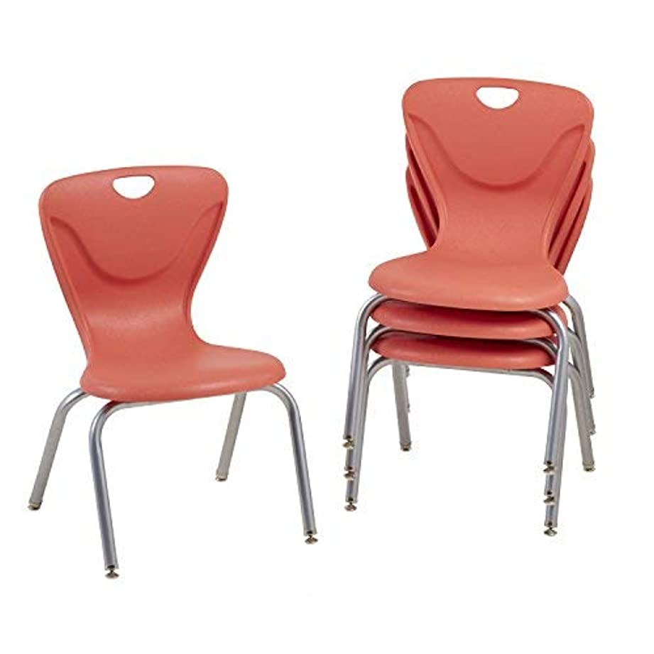 吹きさらし立ち向かう逮捕ECR4Kids 16 Contour School Stacking Student Chair Molded Tangerine (Set of 4) [並行輸入品]