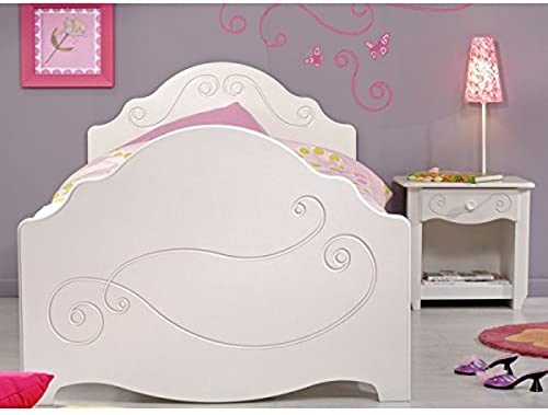 Kinderbett Celina 90200cm   MDF Holz inkl Nachtkommode WeißJugendbett Jugendliege Bettliege mädchenbett Bett Nako Jugendzimmer Kinderzimmer
