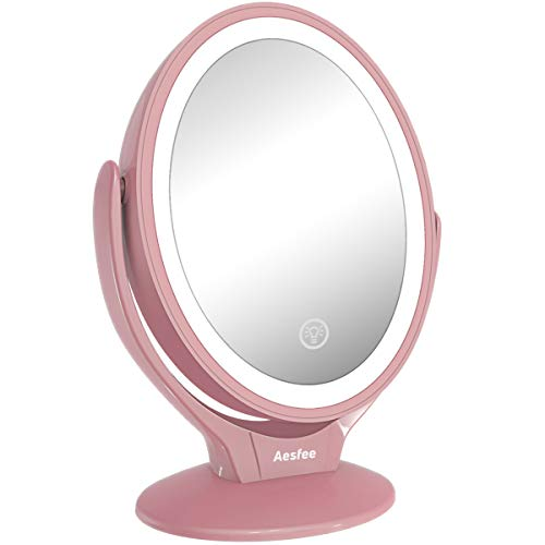 Aesfee LED Lighted Makeup Vanity Mirror Rechargeable,1x/7x Magnification Double Sided 360 Degree Swivel Magnifying Mirror with Dimmable Touch Screen, Portable Tabletop Illuminated Mirrors - Rose Gold