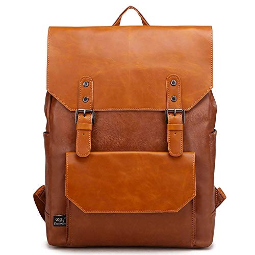 CLCCYYSJD Men's Retro Multi-pocket Travel Backpack, Soft-faced Leather Waterproof and Anti-theft 13-inch Computer Bag, Large-capacity Ultra-light Portable Bag, Suitable for Parties, Shopping and Gifts