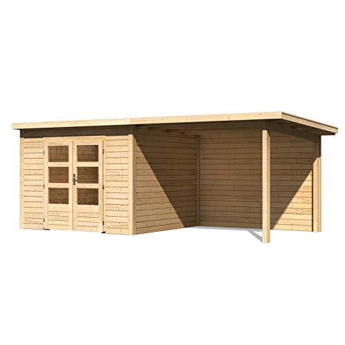 HORI® Gartenhaus I Gerätehaus Skagen aus Holz mit Anbau I nordische Fichte natur I 575 x 275 cm - 28 mm Bohlenstärke