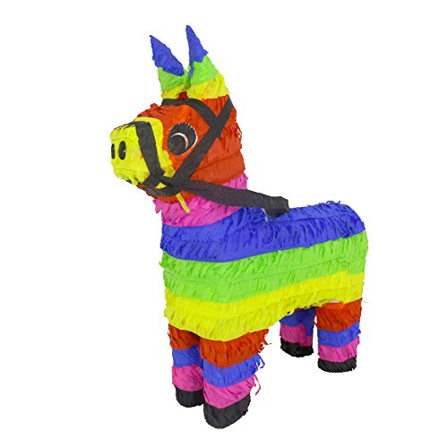 Lytio Mexican Donkey Pinata Festive Colored Burro Perfect for Center Piece or Photo Prop, Piñata Game or Decor 5 de Mayo