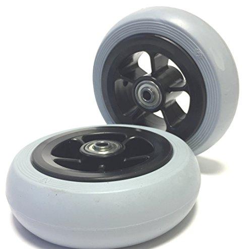 Krypton 2 Stück Rollstuhlreifen pannensicher 140 x 40, Vollgummi, grau, Glattprofil, 100% pannengeschützt, Kompletträder Reifen mit Felge und Rollstuhl Kugellager, Bohrung 8 mm, Nabenlänge 45 mm