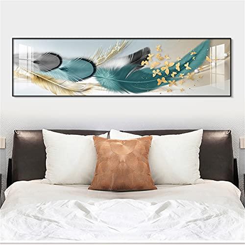 paglutaw Moderno Abstracto Verde Plumas De Lona Pintura Impresa Decoración Para El Hogar Oro Mariposa Pared Arte Imágenes Para Sala De Estar Cartel Nórdico 08x12inch Inner_Framed