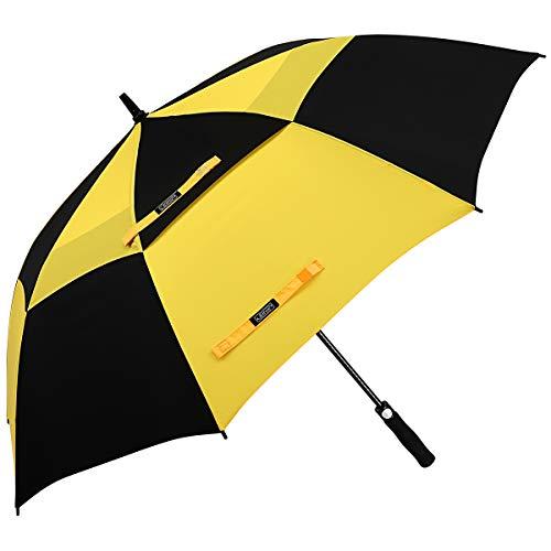 G4Free 54/62/68 inch automatisch openen golfparaplu, extra grote overkapping, ventilatie, winddicht, waterdichte stok paraplu, geel en zwart (geel) - G4Free TN0638R