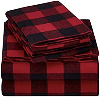 Mainstays Flannel Sheet Set Full, Red Plaid