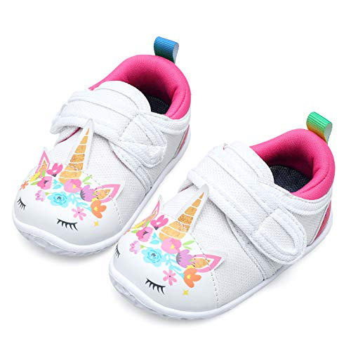 JIASUQI Baby Boys Girls Sneakers Anti Slip Lightweight Soft Toddler First Walkers for Walking Running White Horse 6-12 Months Infant