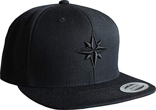 Cap: Nautischer Stern - Flexfit Snapback - Urban Streetwear - Männer Mann Frau-en - Baseball - Hip-Hop Rap - Mütze - Kappe - Anker See - Star - Hamburg - Basecap Vintage (One Size - Schwarz)